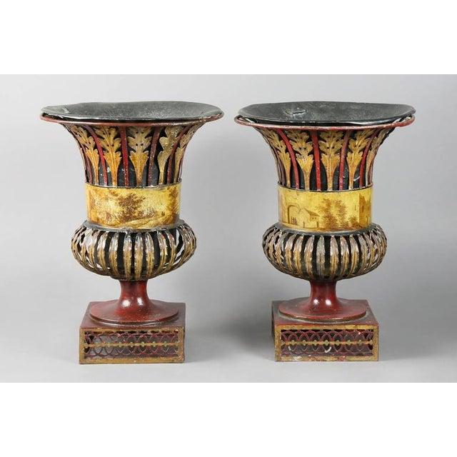 Regency Pair of Regency Tole Urns For Sale - Image 3 of 11