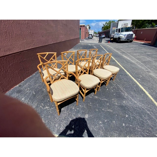 Vintage Coastal Ficks Reed Chinese Chippendale Bamboo Dining Chairs - Set of 8 For Sale - Image 10 of 13