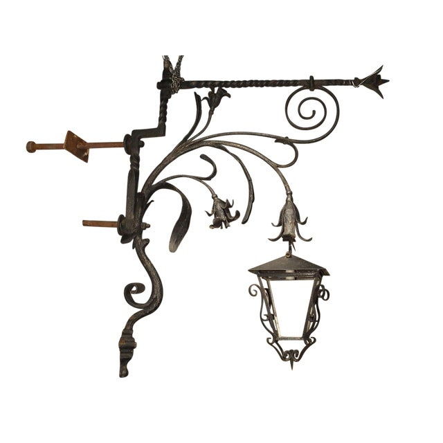 Massive Circa 1700 Forged Iron Lantern Holder From a Castle in Wallonia Belgium For Sale