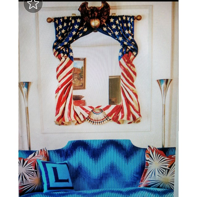 Glass Rare Stunning Huge Draped American Flag Eagle Whimsical Wall Mirror For Sale - Image 7 of 13