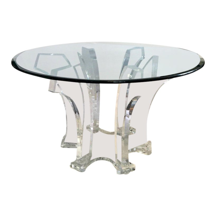 Superb Charles Hollis Jones Mid Century Modern Round Lucite And Glass Dining Table Decaso