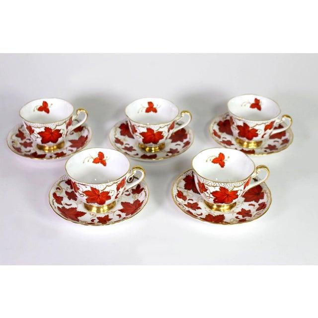 Scarlet 1950's Royal Chelsea English Fine Bone Porcelain China Maple Leaf Tea Cups & Saucers - Set of 5 For Sale - Image 8 of 8