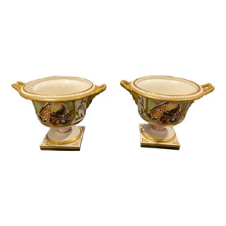 Neoclassical Italian Nautical Porcelain Urns - a Pair For Sale