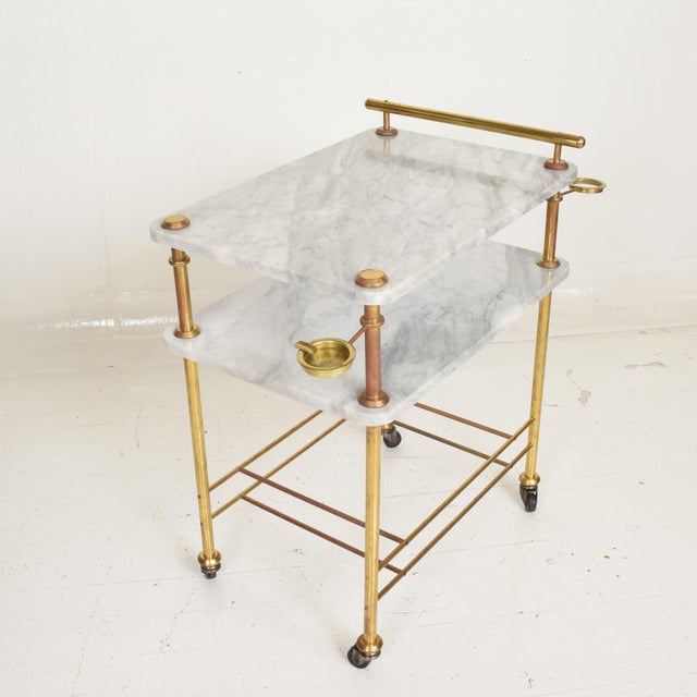 Brass Mid Century Modern Bakery Service Table in Carrara Marble and Brass For Sale - Image 7 of 11