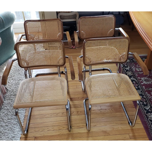 Italian Mid-Century Modern Marcel Breuer Cesca Style Arm Chairs- Set of 4 For Sale - Image 3 of 3