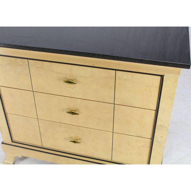 Century Furniture Three-Drawer Granite Top Bleached Burl Wood Bachelor Chest Dresser For Sale - Image 4 of 6