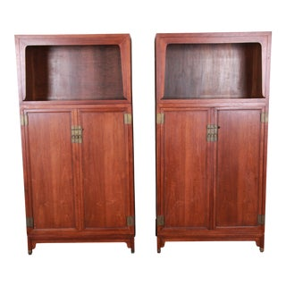 Michael Taylor for Baker Far East Collection Walnut Bookcase Wall Units, Pair For Sale