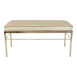 Vintage Brass Faux Bamboo Bench For Sale