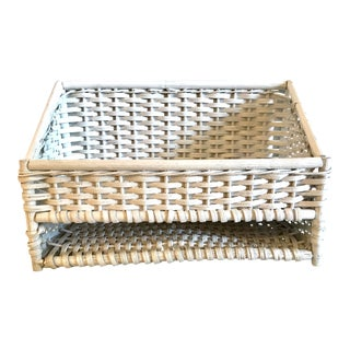 Vintage White Wicker Letter Box For Sale