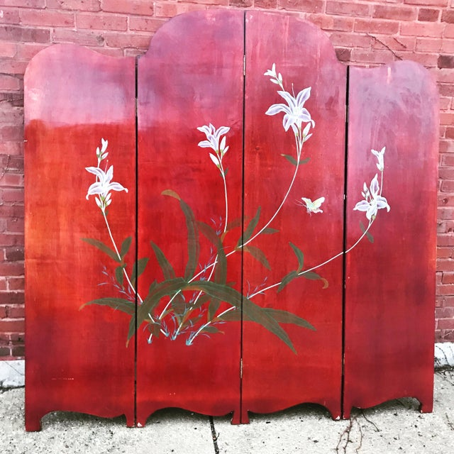 Wood 1940's Era Vintage Painted Folding Screen For Sale - Image 7 of 11