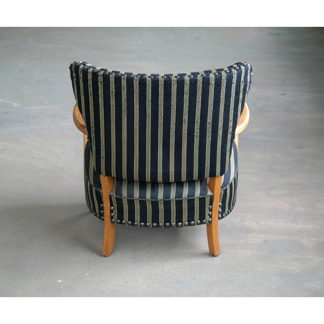 Otto Schulz Style Lounge Chair in Oak With Brass Tacks Danish Midcentury For Sale In New York - Image 6 of 11