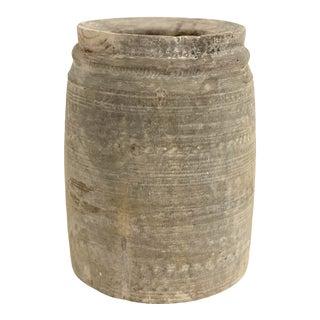 Rustic Bleached Wood Vessel Vase For Sale