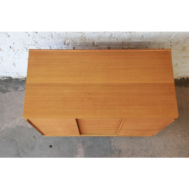 Brown Edward Wormley for Dunbar Woven Front Cabinet For Sale - Image 8 of 11