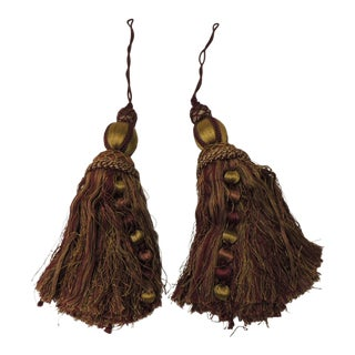 Red and Gold Silk Hand Crafted Tassels-Pair For Sale