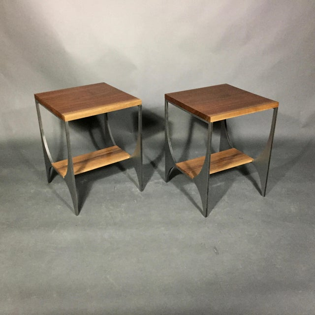 "Richard Velloso ""Curves of Grace"" Black Walnut & Steel Side Tables For Sale - Image 10 of 10"