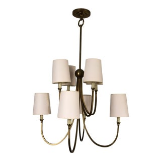 Thomas O'Brien 2-Tier Reed Chandelier in Hand Rubbed Antique Bronze For Sale