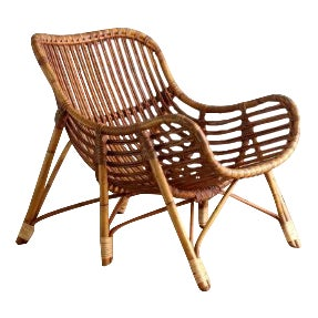 1950s Mid-Century Modern Laurids Lonborg Rattan Arm Chair For Sale