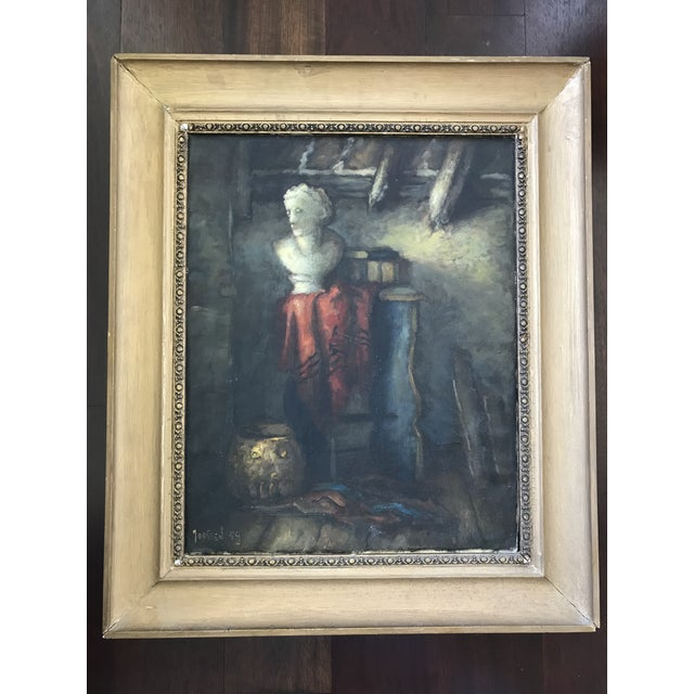 1950s Vintage Still Life with Marble Bust Framed Oil Painting For Sale - Image 10 of 10