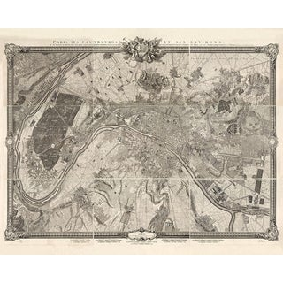 Restored 1733 Antique Paris Map For Sale