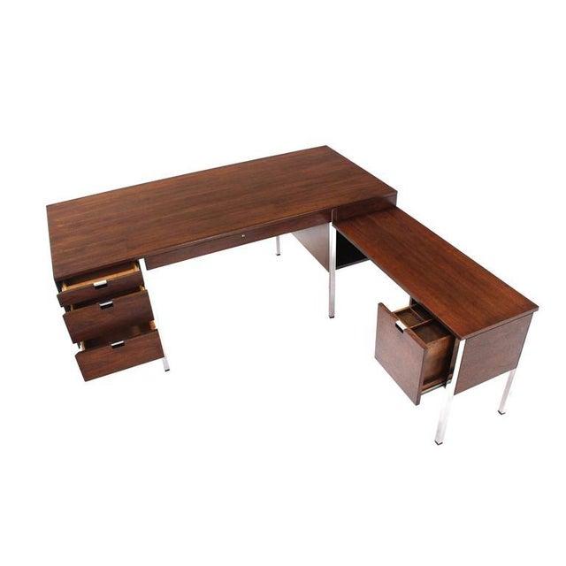 Large Walnut Dunbar Executive Desk with Return For Sale - Image 11 of 11