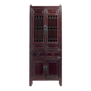 Dark Brown Chinese Kitchen Cabinet with Fretwork Doors the Late 19th Century