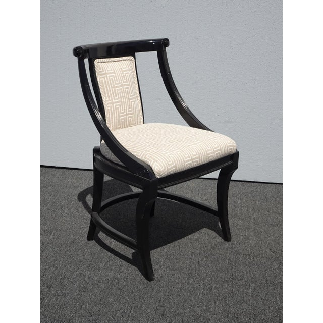 Contemporary Modern Classic Designer Black Lacquer Side Chair