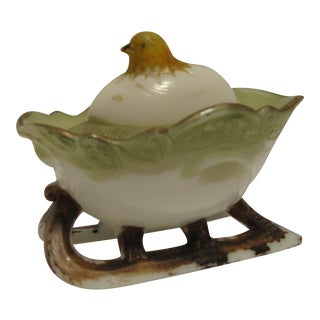 Early Westmorland Figurial Milkglass Chick on Sleigh Candy Container For Sale