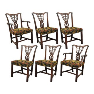 Set of 6 Vintage Chippendale Mahogany Ribbon Back Bell Flower Dining Room Chairs For Sale
