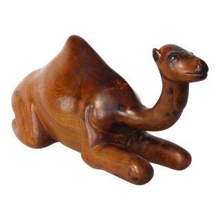 Large Carved Wood Recumbent Camel Sculpture
