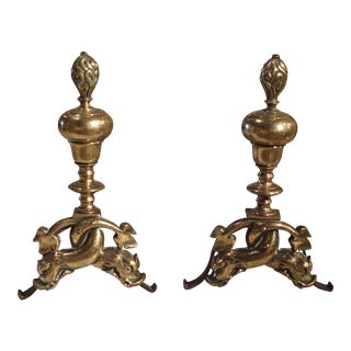 Pair of Period Louis XIV Bronze Andirons For Sale