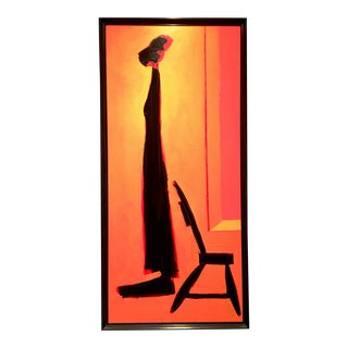 """1994 Abstrasct Oil on Canvas Life Size Painting """"Lady & Chair"""", by Alan Weinstein For Sale"""