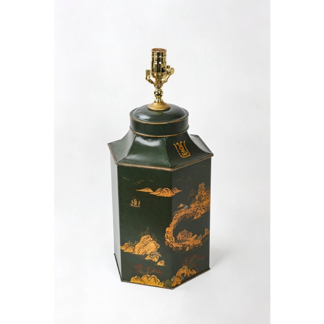 Early 20th Century Vintage English Export Hexagonal Tea Caddy Hand-Painted Chinoiserie Landscape Lamp For Sale - Image 5 of 9