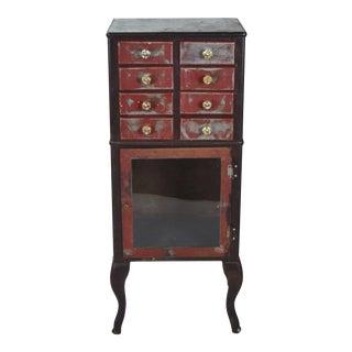Vintage Industrial Steel Medical Cabinet For Sale