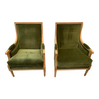 Modern Victorian Style Green Velvet Club Chairs - a Pair For Sale
