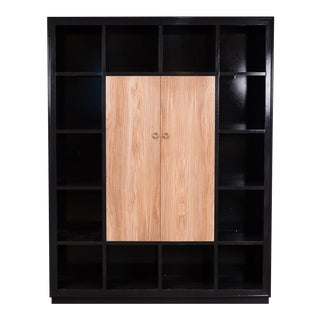 Tanganyika Walnut Veneer Modern Bookcase with Olive Wood