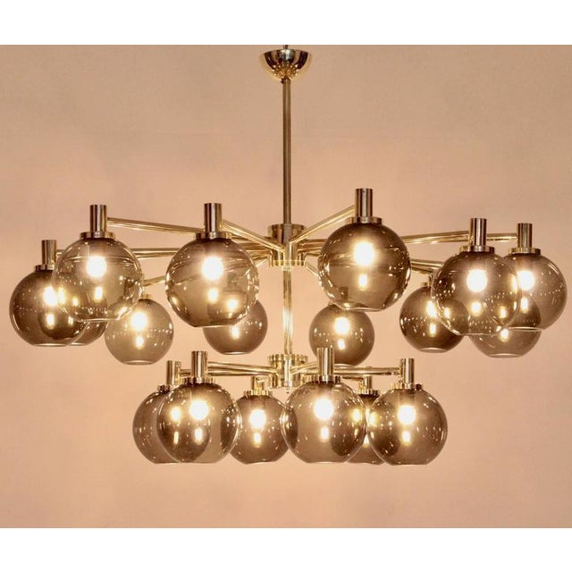 Brass 1 of 2 Huge Tinted Glass and Brass Chandelier Attributed to Hans-Agne Jakobsson For Sale - Image 7 of 8