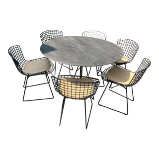 Vignelli Paper Clip Table With Bertoia Chairs For Sale