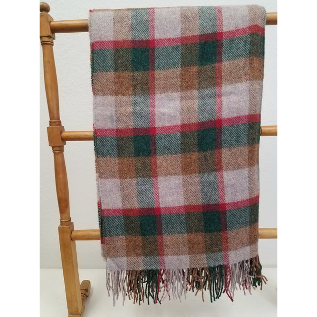 Wool Throw Green, Red, Brown in a Check Design - Made in England For Sale - Image 11 of 11