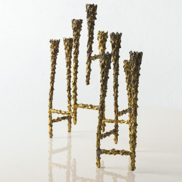 Midcentury Modern Brutalist Tiered Brass Candle Holder For Sale In San Diego - Image 6 of 11