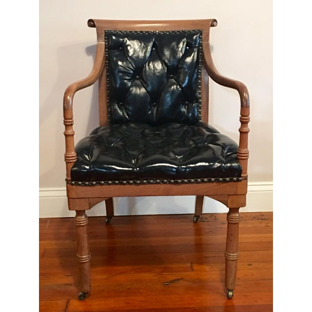 Animal Skin **Final Price** Vintage Tufted Black Leather Arm Chair For Sale - Image 7 of 7