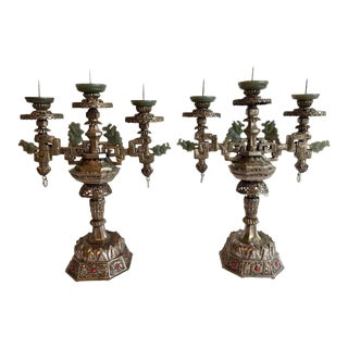 Mongolian Style Silver Candelabra With Bowenite Accents - a Pair For Sale