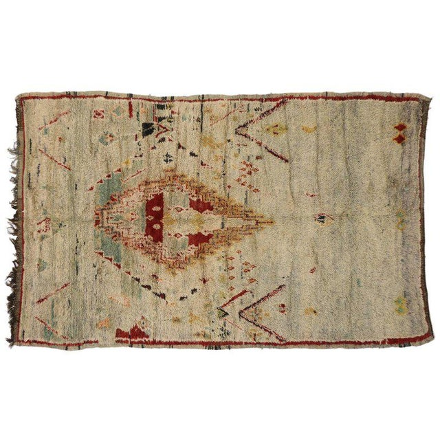Berber Tribes of Morocco Vintage Berber Moroccan Azilal Rug with Tribal Style For Sale - Image 4 of 5
