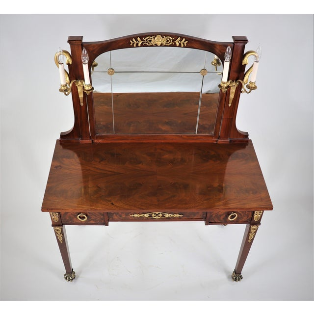 French Circa 1900 French Empire Style Mahogany Dressing Table For Sale - Image 3 of 13