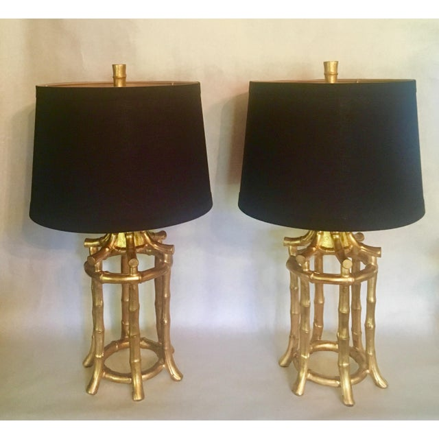 Faux Bamboo Hollywood Regency Lamps - a Pair - Image 8 of 8