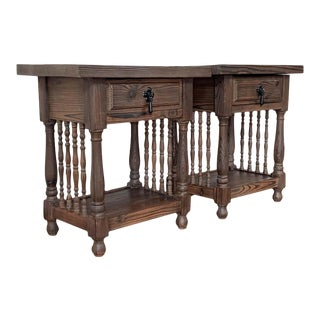 20th Catalan, Spanish Nightstands With Carved Bars, Drawer and Open Shelf - a Pair For Sale