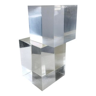 1970s Mid Century Lucite Dorothy Thorpe Cube Bookends - a Pair For Sale
