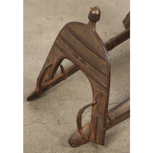 Campaign Antique Camel, Dromadaire Brass and Iron Saddle For Sale - Image 3 of 10