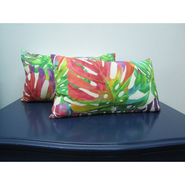 Norbar Fabrics Contemporary Monstera Leaf Print Norbar Fabric Lumbar Pillows - a Pair For Sale - Image 4 of 5