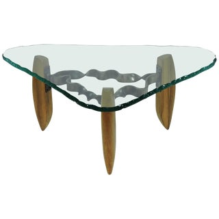 American Studio Silas Seandel Style Metal, Wood and Glass Coffee Table For Sale