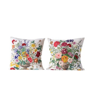 Floral Embroidered Pillows- A Pair For Sale